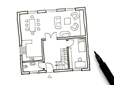 Auch aus einer einfachen Skizze lassen sich tolle neue Grundrisse zeichnen